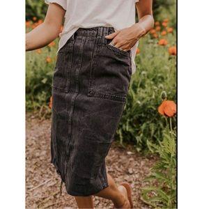 Free People Elisa Pencil Denim Skirt NWT